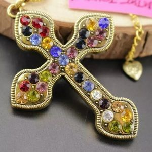 Betsey Johnson antique cross crystal necklace NWT